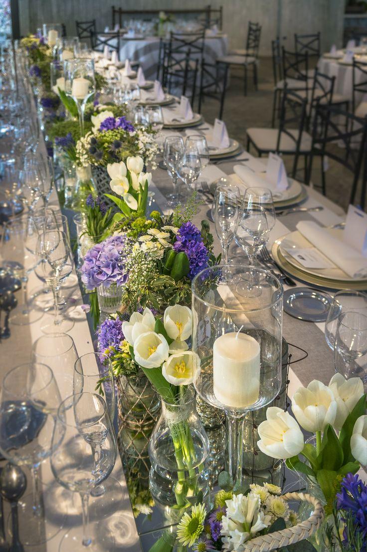 Elementos decorativos de las mesas del banquete la boda marinera de El Campillo